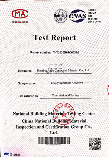 Epoxy injectable adhesive test report